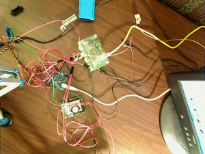 A rats nest of wires for the first pass