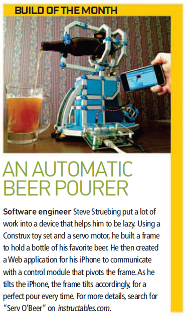 Serv O'Beer in Popular Science