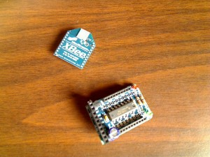 XBee Modem off of the adapter board