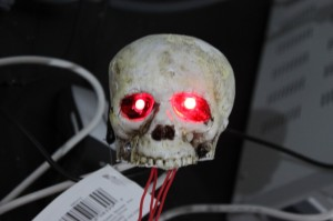 Testing that the LEDs are working and solder joints didn't break when inserting into skull.